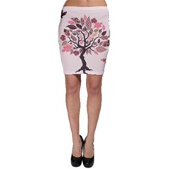 Tree Butterfly Insect Leaf Pink Bodycon Skirt
