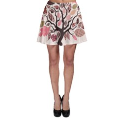 Tree Butterfly Insect Leaf Pink Skater Skirt
