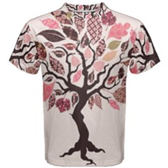 Tree Butterfly Insect Leaf Pink Men s Cotton Tee