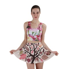 Tree Butterfly Insect Leaf Pink Mini Skirt