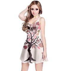Tree Butterfly Insect Leaf Pink Reversible Sleeveless Dress