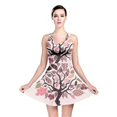 Tree Butterfly Insect Leaf Pink Reversible Skater Dress