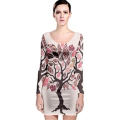 Tree Butterfly Insect Leaf Pink Long Sleeve Bodycon Dress