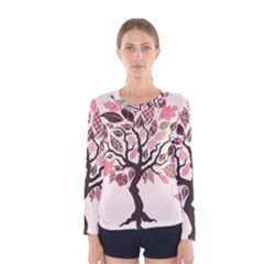 Tree Butterfly Insect Leaf Pink Women s Long Sleeve Tee