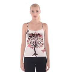Tree Butterfly Insect Leaf Pink Spaghetti Strap Top