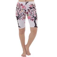 Tree Butterfly Insect Leaf Pink Cropped Leggings