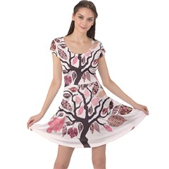 Tree Butterfly Insect Leaf Pink Cap Sleeve Dresses