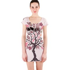 Tree Butterfly Insect Leaf Pink Short Sleeve Bodycon Dress