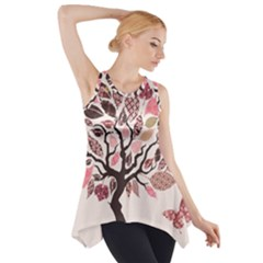 Tree Butterfly Insect Leaf Pink Side Drop Tank Tunic