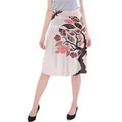 Tree Butterfly Insect Leaf Pink Midi Beach Skirt