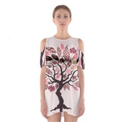 Tree Butterfly Insect Leaf Pink Shoulder Cutout One Piece