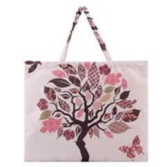 Tree Butterfly Insect Leaf Pink Zipper Large Tote Bag