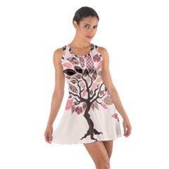 Tree Butterfly Insect Leaf Pink Cotton Racerback Dress