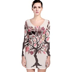 Tree Butterfly Insect Leaf Pink Long Sleeve Velvet Bodycon Dress