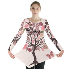 Tree Butterfly Insect Leaf Pink Long Sleeve Tunic