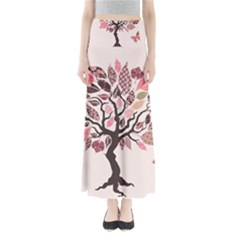 Tree Butterfly Insect Leaf Pink Maxi Skirts