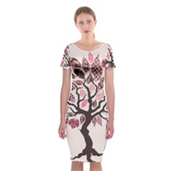 Tree Butterfly Insect Leaf Pink Classic Short Sleeve Midi Dress