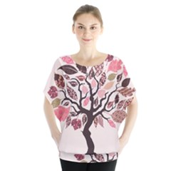 Tree Butterfly Insect Leaf Pink Blouse