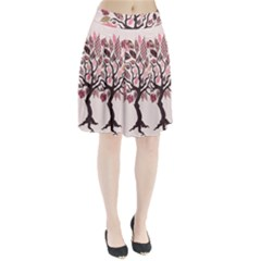 Tree Butterfly Insect Leaf Pink Pleated Skirt