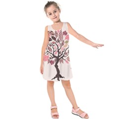 Tree Butterfly Insect Leaf Pink Kids  Sleeveless Dress