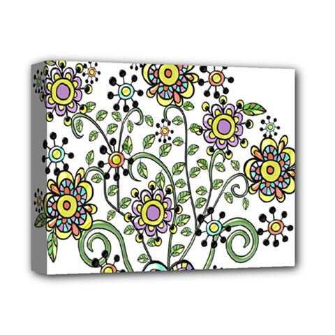 Frame Flower Floral Sun Purple Yellow Green Deluxe Canvas 14  x 11