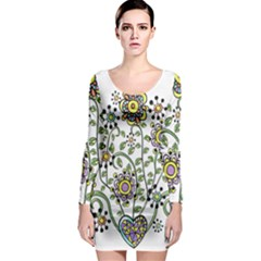 Frame Flower Floral Sun Purple Yellow Green Long Sleeve Bodycon Dress