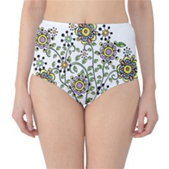 Frame Flower Floral Sun Purple Yellow Green High-Waist Bikini Bottoms