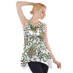 Frame Flower Floral Sun Purple Yellow Green Side Drop Tank Tunic