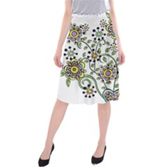 Frame Flower Floral Sun Purple Yellow Green Midi Beach Skirt