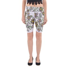 Frame Flower Floral Sun Purple Yellow Green Yoga Cropped Leggings