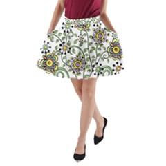 Frame Flower Floral Sun Purple Yellow Green A-Line Pocket Skirt