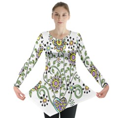 Frame Flower Floral Sun Purple Yellow Green Long Sleeve Tunic