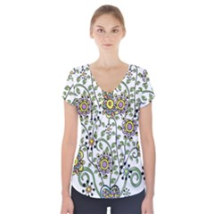 Frame Flower Floral Sun Purple Yellow Green Short Sleeve Front Detail Top