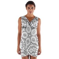 Scope Random Black White Wrap Front Bodycon Dress