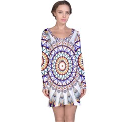 Circle Star Rainbow Color Blue Gold Prismatic Mandala Line Art Long Sleeve Nightdress