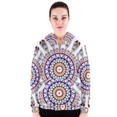 Circle Star Rainbow Color Blue Gold Prismatic Mandala Line Art Women s Zipper Hoodie