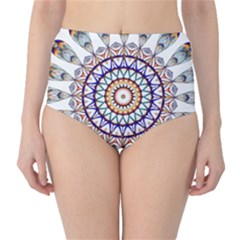 Circle Star Rainbow Color Blue Gold Prismatic Mandala Line Art High-Waist Bikini Bottoms