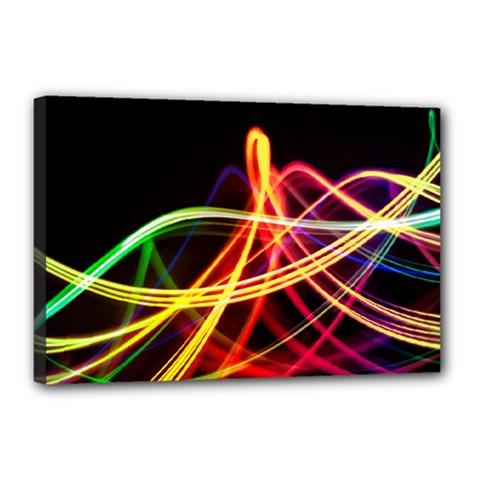 Vortex Rainbow Twisting Light Blurs Green Orange Green Pink Purple Canvas 18  x 12