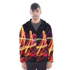Vortex Rainbow Twisting Light Blurs Green Orange Green Pink Purple Hooded Wind Breaker (men)