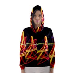 Vortex Rainbow Twisting Light Blurs Green Orange Green Pink Purple Hooded Wind Breaker (Women)