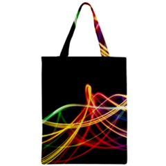 Vortex Rainbow Twisting Light Blurs Green Orange Green Pink Purple Zipper Classic Tote Bag