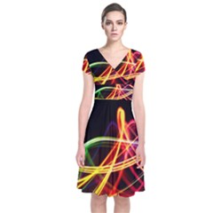Vortex Rainbow Twisting Light Blurs Green Orange Green Pink Purple Short Sleeve Front Wrap Dress