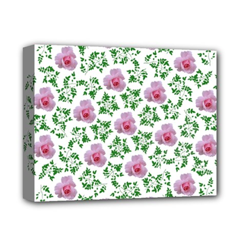 Rose Flower Pink Leaf Green Deluxe Canvas 14  x 11