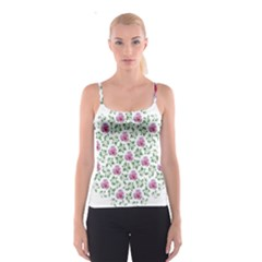 Rose Flower Pink Leaf Green Spaghetti Strap Top