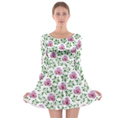 Rose Flower Pink Leaf Green Long Sleeve Skater Dress