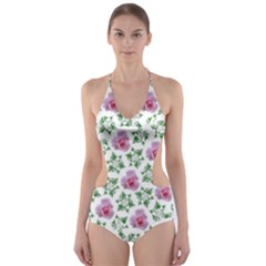 Rose Flower Pink Leaf Green Cut-Out One Piece Swimsuit