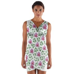 Rose Flower Pink Leaf Green Wrap Front Bodycon Dress