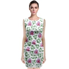 Rose Flower Pink Leaf Green Classic Sleeveless Midi Dress