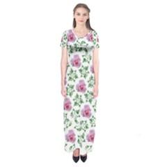 Rose Flower Pink Leaf Green Short Sleeve Maxi Dress