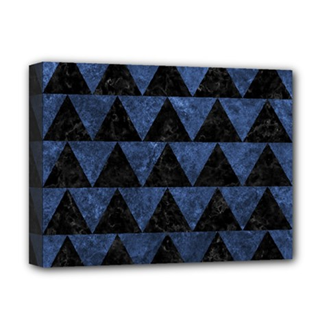 Triangle2 Black Marble & Blue Stone Deluxe Canvas 16  X 12  (stretched)